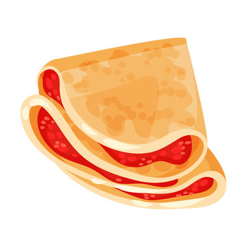 Pancake with red filling. Vector illustration on white background.