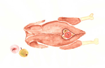 Drawing with watercolors: roast goose with apples.