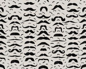 Vector flat seamless texture pattern Mustaches.