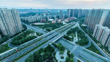 Fotomurales - time lapse of city interchange in nightfall, road junction on the ancient city of xian , China