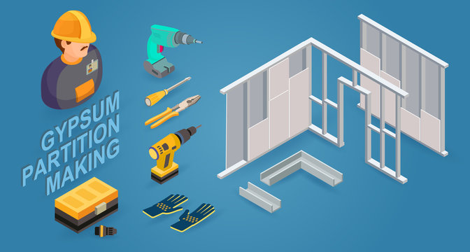 Gypsum partition making. Drywall work. Building services. Isometric icons. Vector