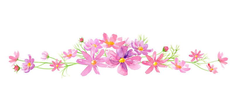 コスモスの花の装飾ラインフレーム 水彩イラスト