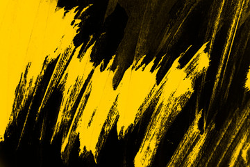 yellow and black paint  background texture with brush strokes - fototapety na wymiar