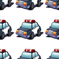 Caricature de tuile modèle sans couture avec voiture de police