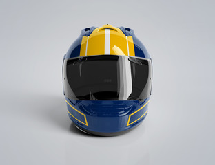 Blue and yellow motorcycle helmet isolated on white Mockup 3D rendering