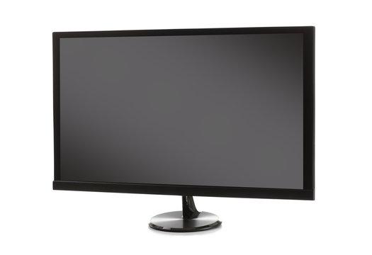 Modern TV set on white background