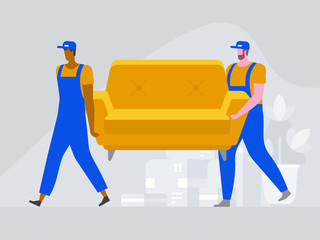 Two workers are carrying a sofa. Moving house