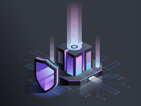 Isometric illustration of digital protection