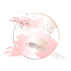 Rose gold foil art. Tender soft pink decoration circle. Fluid art. Applicable for design covers, presentation, invitation, flyers, annual reports, posters and business cards. Modern artwork