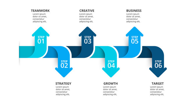 Six arrows infographic elements. Business template for presentation. Vector concept with 6 options or steps.