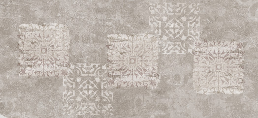 Wall Mural - vintage background,cement damask pattern background, cement damask digital tiles