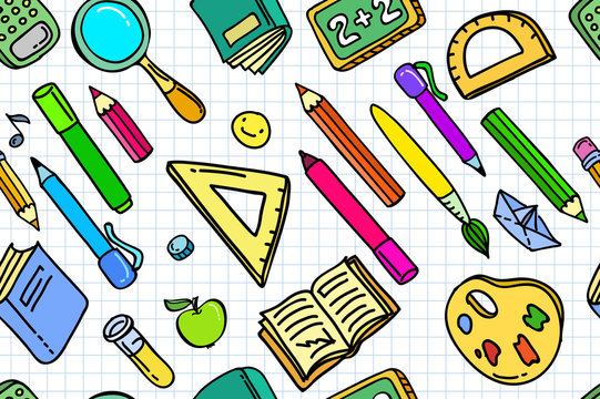 Concept of education. School background with hand drawn school supplies and comic speech bubble