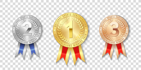 Champion gold, silver and bronze award medals with red ribbons isolated on transparent background. The first, second, third place on sport tournament, victory concept prizes