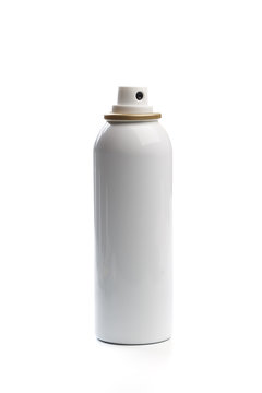 metal bottle with sprayer cap for cosmetic, perfume, deodorant or freshener or hairspray. - Image