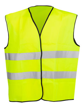Yellow high visibility safety vest isolated on white background