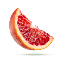 Wall Mural - slice of blood orange isolated on white background