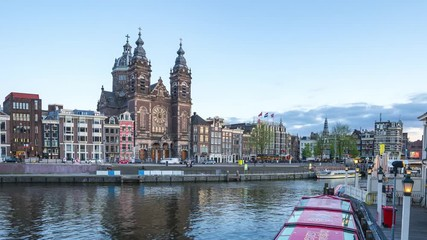Wall Mural - Amsterdam skyline day to night time lapse in Amsterdam city, Netherlands