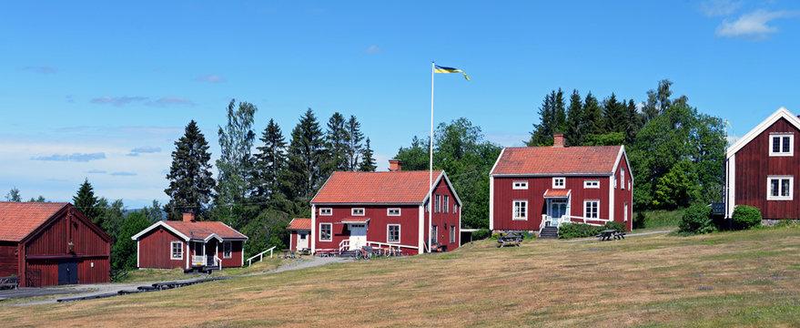 Historische Häuser in Alnö Schweden