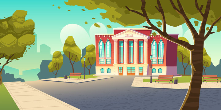 College building, educational institution, school empty front yard with green trees, grass lawns, benches and road, summer landscape, city architecture, place for studying. Cartoon vector illustration