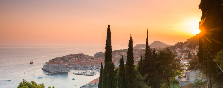 Sunset over the old town, Dubrovnik, Croatia