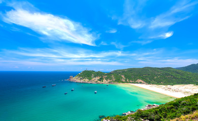 Beautiful bays on the sunny afternoon near the lighthouse Dai Lanh, Phu Yen, Vietnam