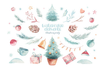 Christmas holiday mood. Hand drawn watercolor illustration. A set of objects in Chrismas theme. Pine cones, floral branches, red berries, christmas tree and a gift box on the white background. Fototapete