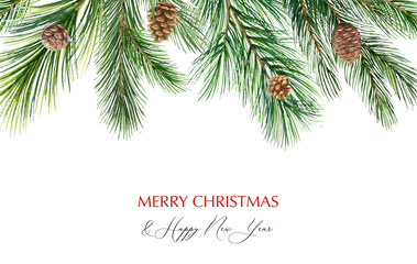 Watercolor vector Christmas banner with fir branches and place for text. Wall mural
