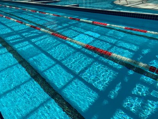 Lanes of a competition swimming pool. swimming pool in spa center of hotel