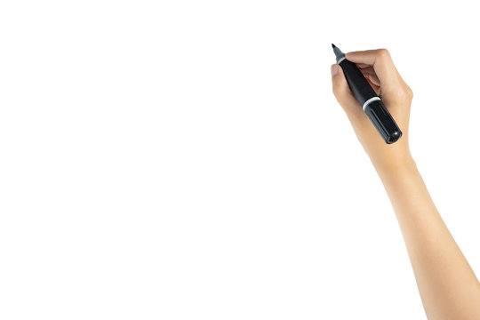 hand holding black magic marker pen ready to writing something isolated on white background with copy space, studio shot