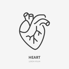 Heart flat line icon. Vector thin pictogram of human internal organ, outline illustration for cardiology clinic