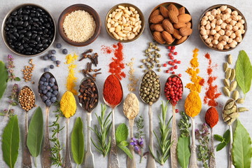 Fototapete - Herbs, spices and superfood.