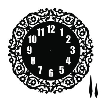 Simple clock face with arabic numerals. Vector template for laser cutting. Cut out silhouette of dial. illustration Isolated on white background. Floral theme for scrapbooking, invitation, decoration.