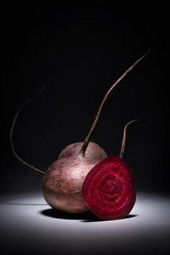 Natural Red Beet Vegetable Composition, vitamins vegan volumetric view front.