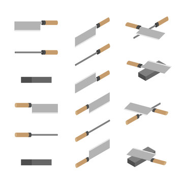 Japanese or Chinese Knives, whetstone and sharpener 3D isometric, Sharpen Kitchen knife utensils concept poster and banner design illustration isolated on white background with space, vector eps 10