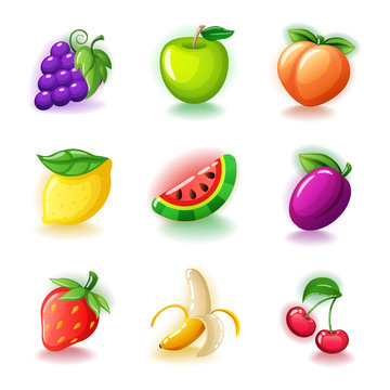 Set of colorful fruits - Glossy cherries, grapes, half-peeled banana, ripe strawberries, lemon, plum, watermelon, peach and green apple fruit icons isolated on white vector