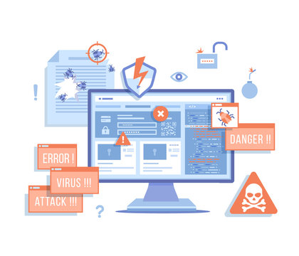 Computer Viruses Attack, Errors detected, Warning signs, Stealing data. Monitor with hacking virus alert messages, bugs, notifications, bomb, open lock, infected files. Vector illustration on white