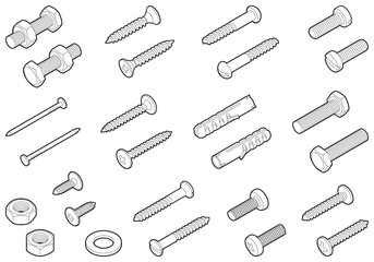 Screws / nuts / nails and wall plugs collection - vector isometric outline illustration