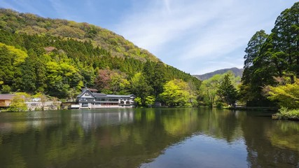 Wall Mural - Kinrinko Lake with Mount Yufu in Oita, Yufu, Japan time lapse