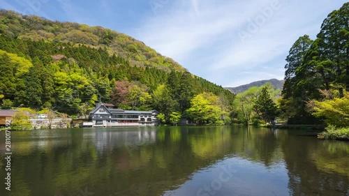 Wall mural Kinrinko Lake with Mount Yufu in Oita, Yufu, Japan time lapse