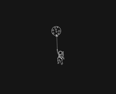 Balloon hanging astronauts space mission, Flat Line Art Vector illustration.