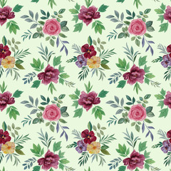 Seamless watercolor flowers pattern. Hand painted flowers. Flower pattern for design. Seamless floral pattern. Drawn flowers for packaging, wallpaper, fabric. roses flower and leaves.