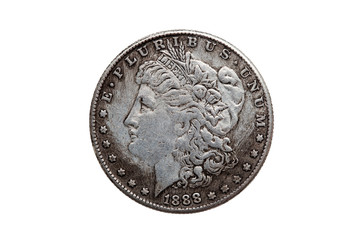 USA One Dollar Morgan Silver Coin replica dated 1880 with a portrait image of Liberty on the obverse cut out and isolated on a white background