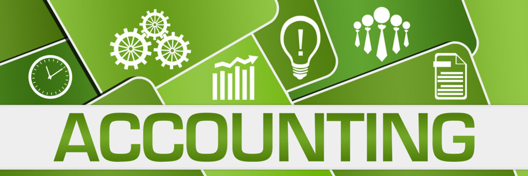 Accounting Green Rounded Squares Symbols