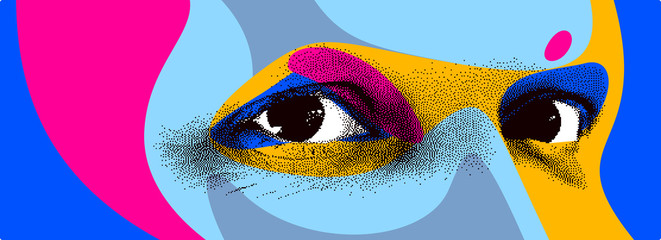 Looking eyes 8 bit dotted design style vector abstraction, human face stylized design element, with colorful splats. Fototapete