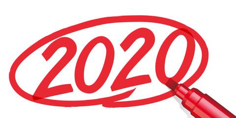 L'année 2020 écrite à la main et entouré d'un cercle rouge avec un feutre ou un marqueur, sur un fond de papier blanc