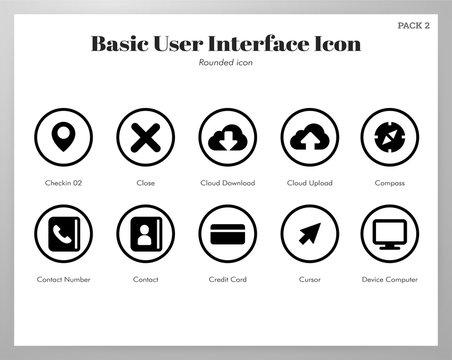 Basic UI icons rounded pack