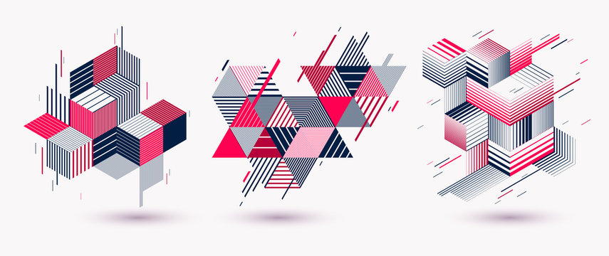 Polygonal low poly vector abstract designs set, artistic retro style backgrounds for ads or prints, covers or posters, banners or cards. Linear 3D triangles and cubes elements.