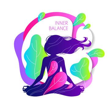 Meditating woman in lotus pose. Colorful yoga illustration.