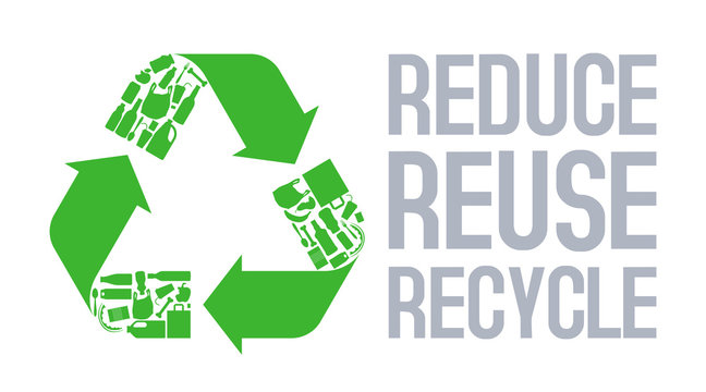 Recycle sign with Reduce reuse recycle slogan vector.