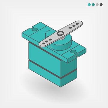 Servo motor isometric vector illustration on isolated background